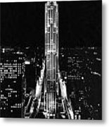 Rca Building At Night In Nyc Metal Print