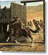 Re-closing Frontiersmen Coming Into The Fort Metal Print
