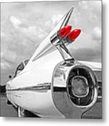 Reach For The Skies - 1959 Cadillac Tail Fins Black And White Metal Print