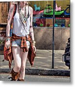 Redhead Crossing Main Street Metal Print