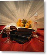Reading By Candle Light Metal Print