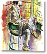 Reading El Pais And Drinking Rioja In Spain Metal Print