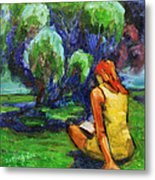 Reading In A Park Metal Print