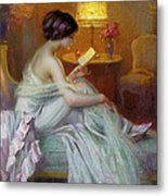 Reading In Lamp Light Metal Print