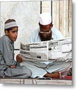 Reading In New Delhi Metal Print