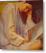 Reading In The Blue Robe  Metal Print