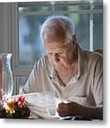 Reading The Sunday News Paper Metal Print