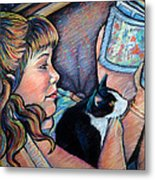 Reading To Boots Metal Print