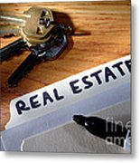 Real Estate File Folder With Marker And House Keys Metal Print