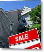 Real Estate Sold Sign And Townhouse Metal Print by Olivier Le Queinec