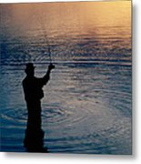 Rear View Of Fly-fisherman Silhouetted Metal Print