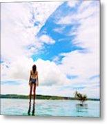 Rear View Of Woman In Bikini Standing Metal Print