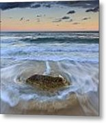 Receding Wave Stormy Seascape Metal Print by Katherine Gendreau