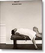 Recent Acquisitions Vintage Documentary Type Photo Woman In Repose Metal Print