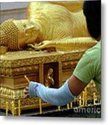 Reclining Buddha Prayer Candles Metal Print