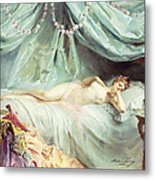 Reclining Nude In An Elegant Interior Metal Print by Madeleine Lemaire