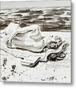 Reclining Nude Study Resting At The Beach Metal Print