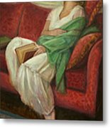 Reclining With Book Metal Print