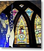 Recollection Union Soldier Stained Glass Window Digital Art Metal Print