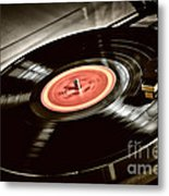 Record On Turntable Metal Print