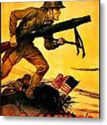 Recruiting Poster - Ww1 - Marines Over The Top Metal Print