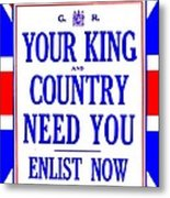 Recruiting Poster - Britain - King And Country Metal Print