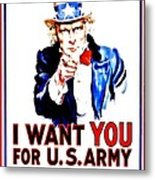 Recruiting Poster - Ww1 - I Want You Metal Print