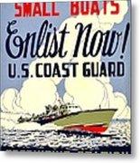Recruiting Poster - Ww2 - Coast Guard Metal Print