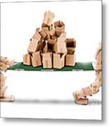 Recycling Boxes By Box Characters And Stretcher Metal Print