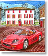 Enzo Ferrari S Garage With 1995 Ferrari 512m Metal Print