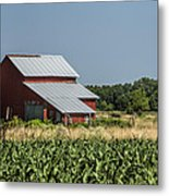 Red Amish Barn And Corn Fields Metal Print