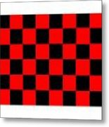 Red And Black Checkered Flag Metal Print