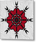 Red And Black On White Metal Print