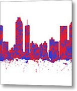 Red And Blue Art Print Of The Skyline Of Atlanta Georgia Usa Metal Print