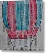 Red And Blue Hot Air Balloon In Paris Fashion Metal Print
