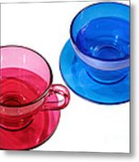 Red And Blue Teacups. Metal Print