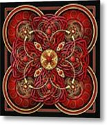 Red And Gold Celtic Cross Metal Print