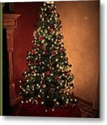 Red And Gold Christmas Tree With Caption Metal Print