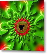 Red And Green Abstract Fractal Art Metal Print