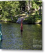 Red And Green Buoys Metal Print