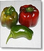 Red And Green Peppers Metal Print