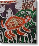 Red And Green Tortoise On Their Way To Bush Metal Print