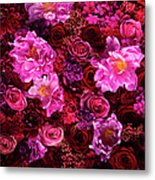 Red And Pink Cut Flowers, Close Up Metal Print