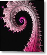 Red And Pink Fractal Spiral Metal Print