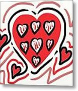 Red And Pink Hearts 2 Metal Print
