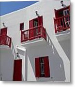 Red And White In Mykonos Metal Print