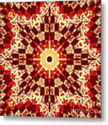Red And White Patchwork Art Metal Print
