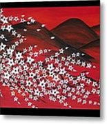 Red And White Sakura Metal Print