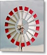 Red And White Windmill Metal Print