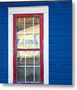 Red And White Window In Blue Wall Metal Print